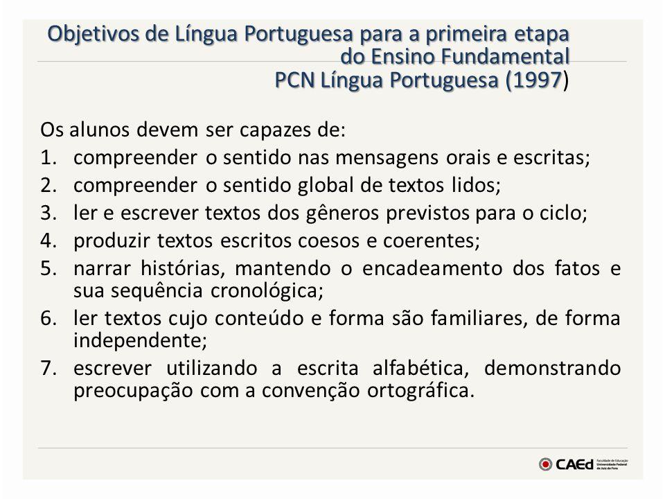 Objetivos de Língua Portuguesa para a primeira etapa do Ensino Fundamental PCN Língua Portuguesa (1997 Objetivos de Língua Portuguesa para a primeira