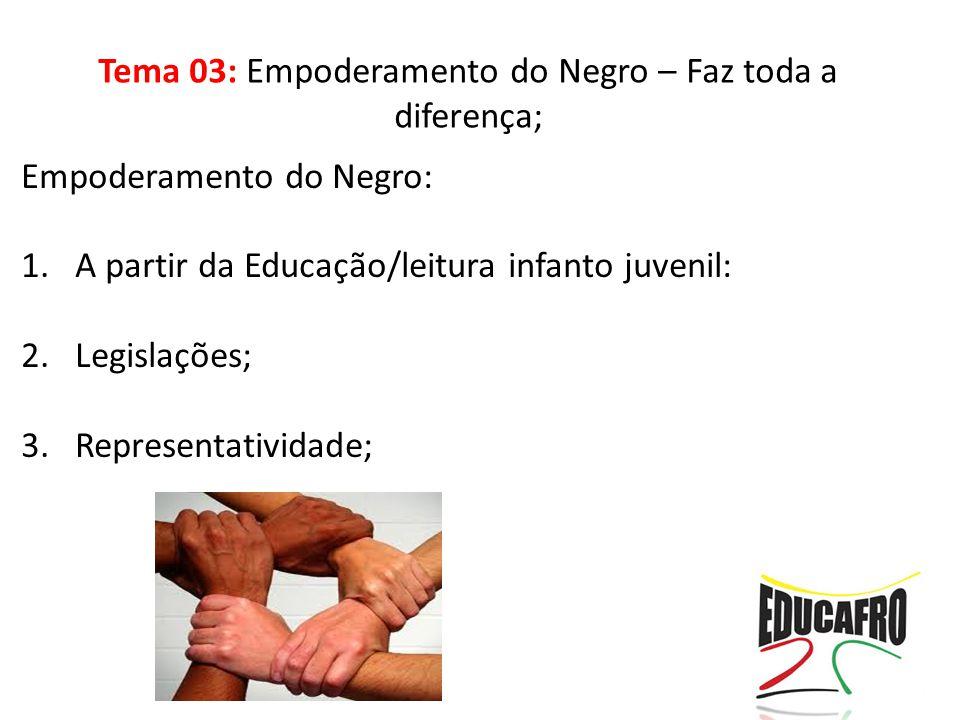 Empoderamento do Negro: 1.A partir da Educação/leitura infanto juvenil: 2.Legislações; 3.Representatividade;