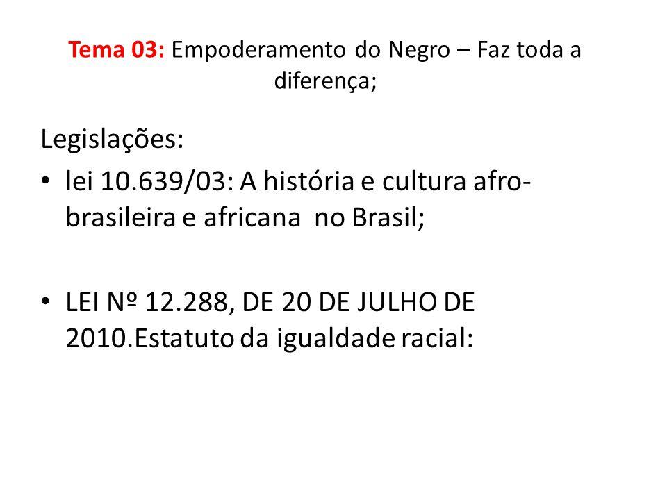 Legislações: lei 10.639/03: A história e cultura afro- brasileira e africana no Brasil; LEI Nº 12.288, DE 20 DE JULHO DE 2010.Estatuto da igualdade ra