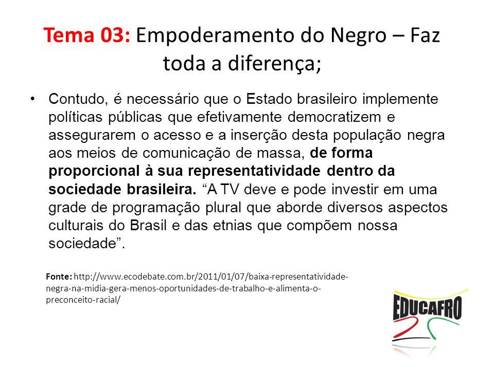 Tema 03: Empoderamento do Negro – Faz toda a diferença; Contudo, é necessário que o Estado brasileiro implemente políticas públicas que efetivamente d