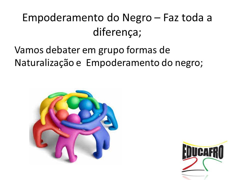 Vamos debater em grupo formas de Naturalização e Empoderamento do negro; Empoderamento do Negro – Faz toda a diferença;