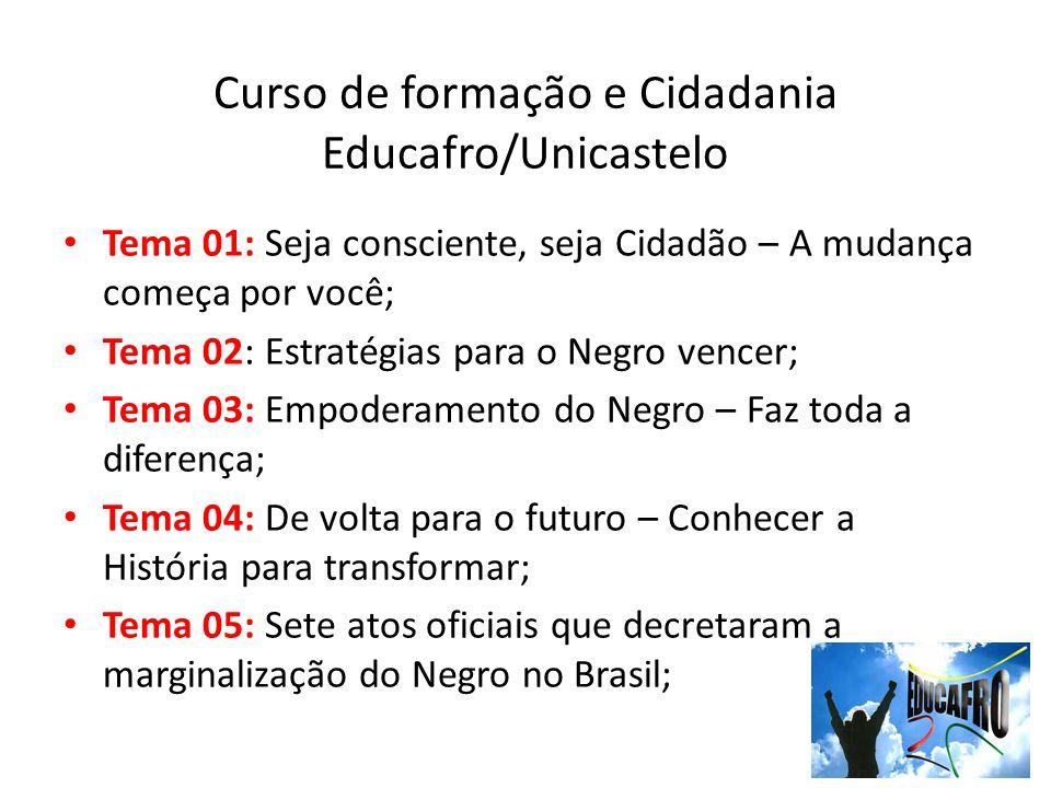 Curso de formação e Cidadania Educafro/Unicastelo Tema 01: Seja consciente, seja Cidadão – A mudança começa por você; Tema 02: Estratégias para o Negr