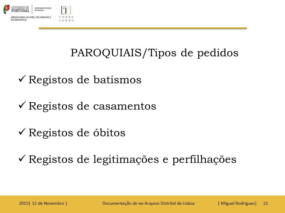 Como Pedir um Registo de Batismo : Nome da criança Filiação Ano de nascimento Freguesia e concelho de naturalidade 2013| 12 de Novembro | Documentação do ex-Arquivo Distrital de Lisboa | Miguel Rodrigues|22