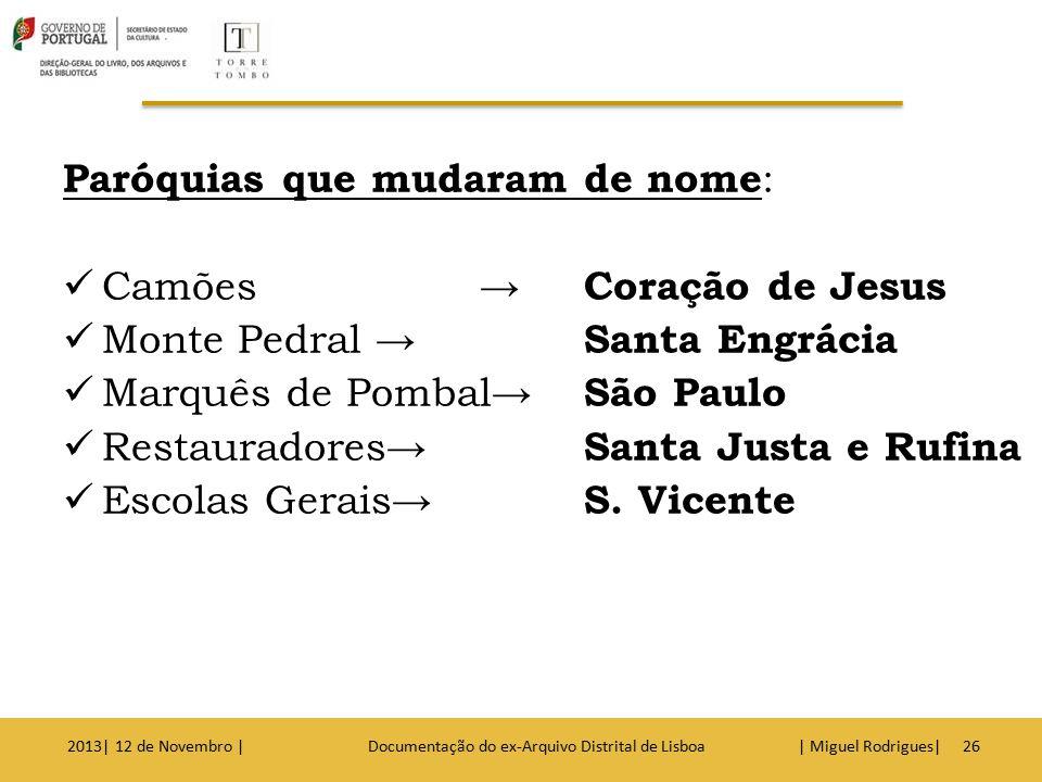  Nota: É essencial indicar o nome da paróquia, porque o concelho de Lisboa, tem cerca de 52 paróquias 2013| 12 de Novembro | Documentação do ex-Arquivo Distrital de Lisboa | Miguel Rodrigues|27