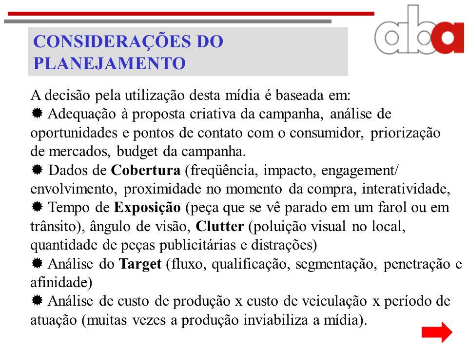 CONSIDERAÇÕES DO PLANEJAMENTO A decisão pela utilização desta mídia é baseada em:  Adequação à proposta criativa da campanha, análise de oportunidade