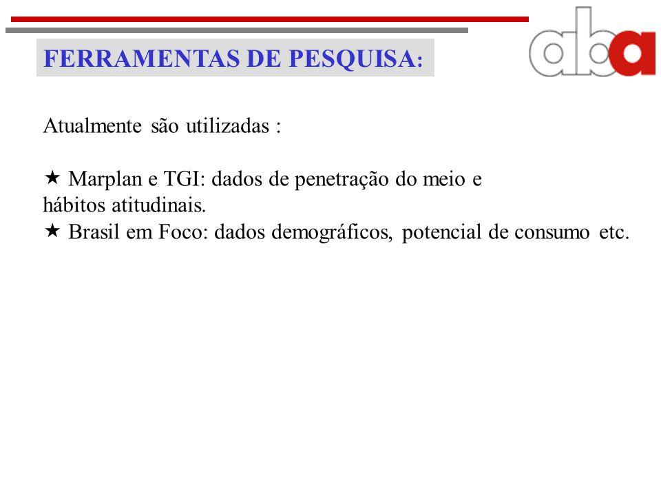 FERRAMENTAS DE PESQUISA : Atualmente são utilizadas :  Marplan e TGI: dados de penetração do meio e hábitos atitudinais.  Brasil em Foco: dados demo