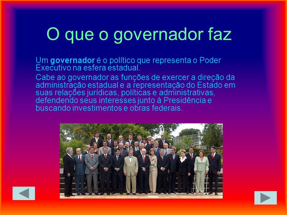 O que o governador faz Um governador é o político que representa o Poder Executivo na esfera estadual. Cabe ao governador as funções de exercer a dire