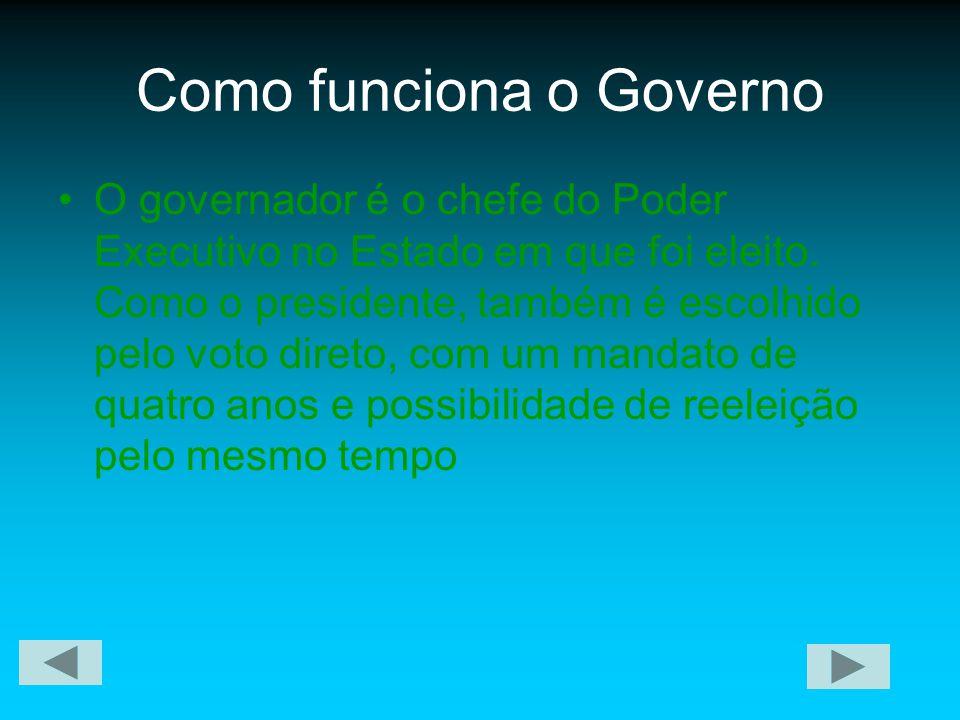 Como funciona o Governo O governador é o chefe do Poder Executivo no Estado em que foi eleito. Como o presidente, também é escolhido pelo voto direto,