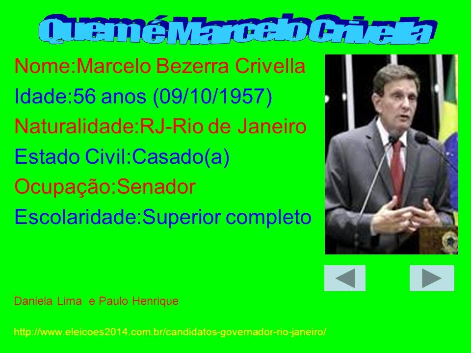 Nome:Marcelo Bezerra Crivella Idade:56 anos (09/10/1957) Naturalidade:RJ-Rio de Janeiro Estado Civil:Casado(a) Ocupação:Senador Escolaridade:Superior
