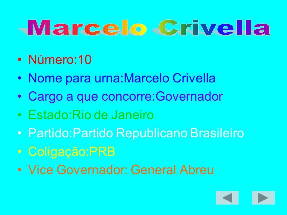 Número:10 Nome para urna:Marcelo Crivella Cargo a que concorre:Governador Estado:Rio de Janeiro Partido:Partido Republicano Brasileiro Coligação:PRB V