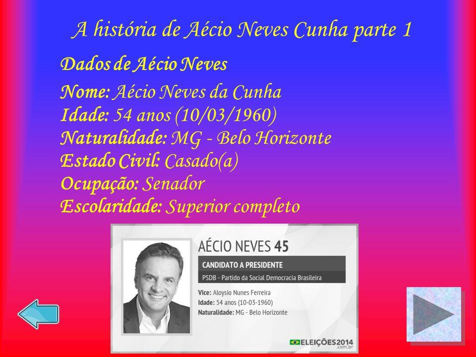 A história de Aécio Neves Cunha parte 1 Dados de Aécio Neves Nome: Aécio Neves da Cunha Idade: 54 anos (10/03/1960) Naturalidade: MG - Belo Horizonte