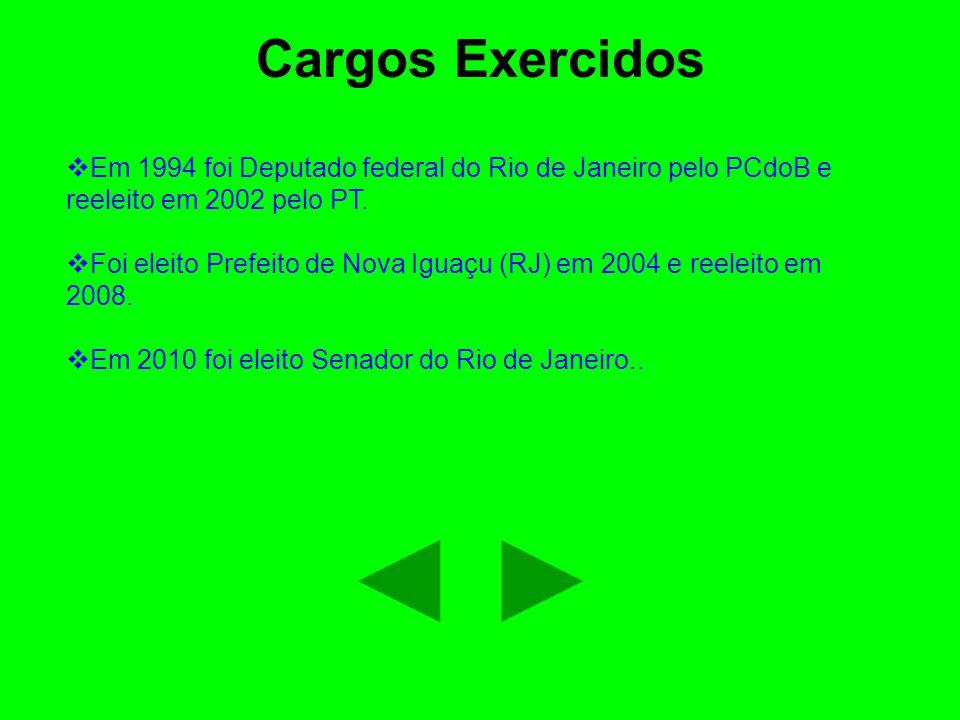 Cargos Exercidos  Em 1994 foi Deputado federal do Rio de Janeiro pelo PCdoB e reeleito em 2002 pelo PT.  Foi eleito Prefeito de Nova Iguaçu (RJ) em