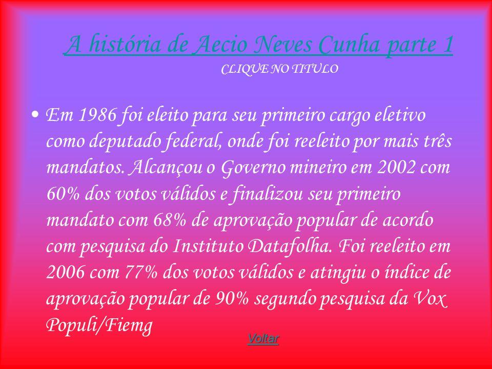 A história de Aecio Neves Cunha parte 1 A história de Aecio Neves Cunha parte 1 CLIQUE NO TITULO Em 1986 foi eleito para seu primeiro cargo eletivo co