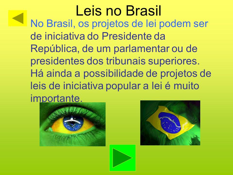 Leis no Brasil No Brasil, os projetos de lei podem ser de iniciativa do Presidente da República, de um parlamentar ou de presidentes dos tribunais sup