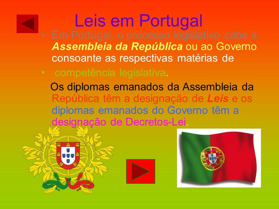 Leis em Portugal Em Portugal, o processo legislativo cabe à Assembleia da República ou ao Governo consoante as respectivas matérias de competência leg