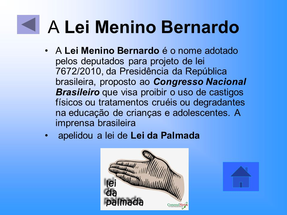 A Lei Menino Bernardo A Lei Menino Bernardo é o nome adotado pelos deputados para projeto de lei 7672/2010, da Presidência da República brasileira, pr