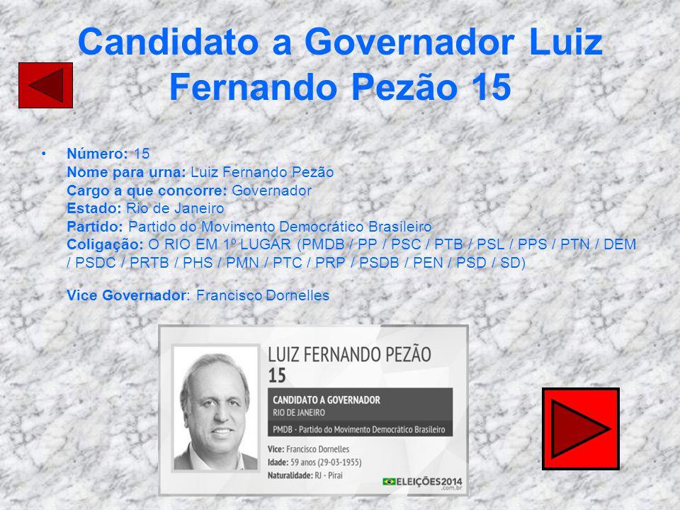 Candidato a Governador Luiz Fernando Pezão 15 Número: 15 Nome para urna: Luiz Fernando Pezão Cargo a que concorre: Governador Estado: Rio de Janeiro P
