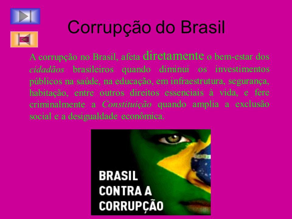 Corrupção do Brasil A corrupção no Brasil, afeta diretamente o bem-estar dos cidadãos brasileiros quando diminui os investimentos públicos na saúde, n