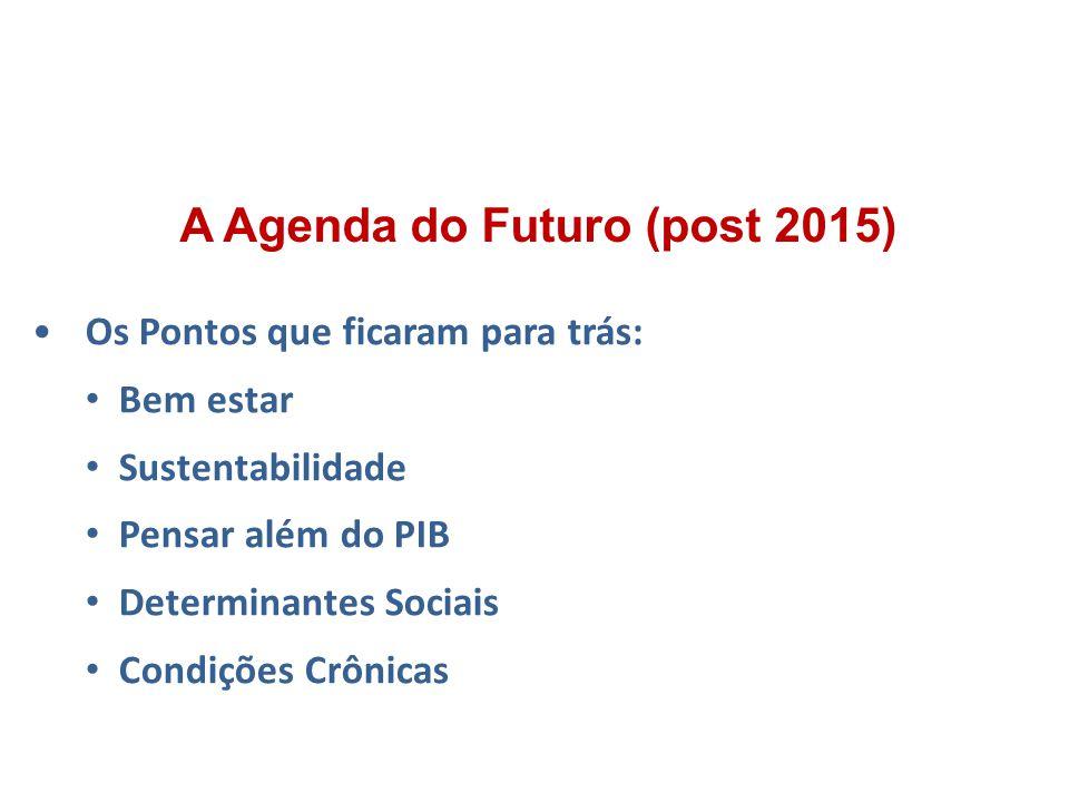 Os Pontos que ficaram para trás: Bem estar Sustentabilidade Pensar além do PIB Determinantes Sociais Condições Crônicas A Agenda do Futuro (post 2015)