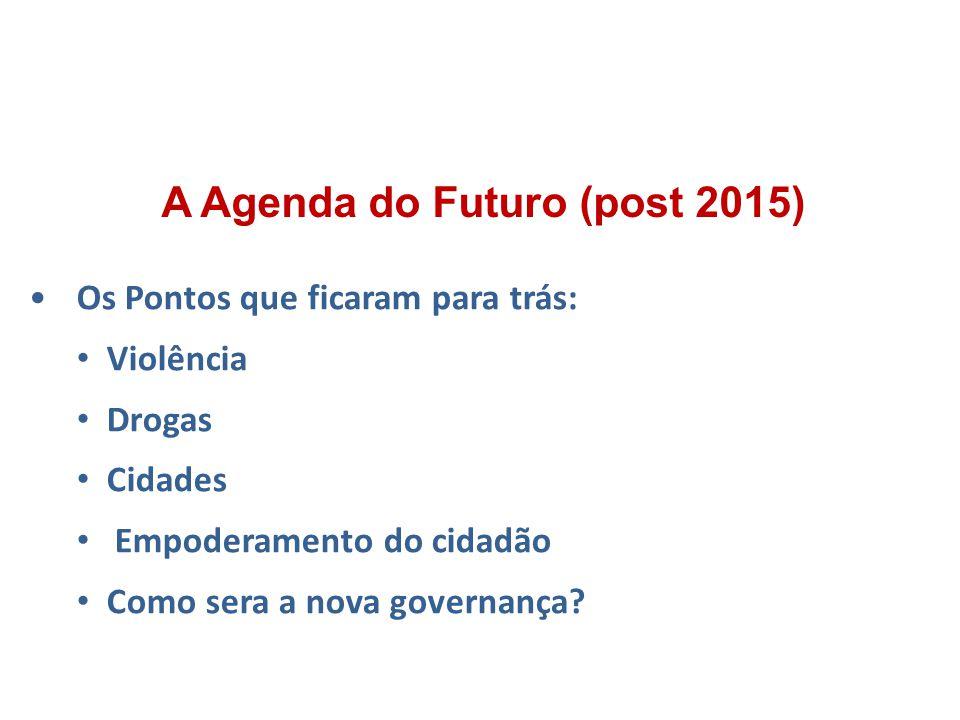 Os Pontos que ficaram para trás: Violência Drogas Cidades Empoderamento do cidadão Como sera a nova governança? A Agenda do Futuro (post 2015)