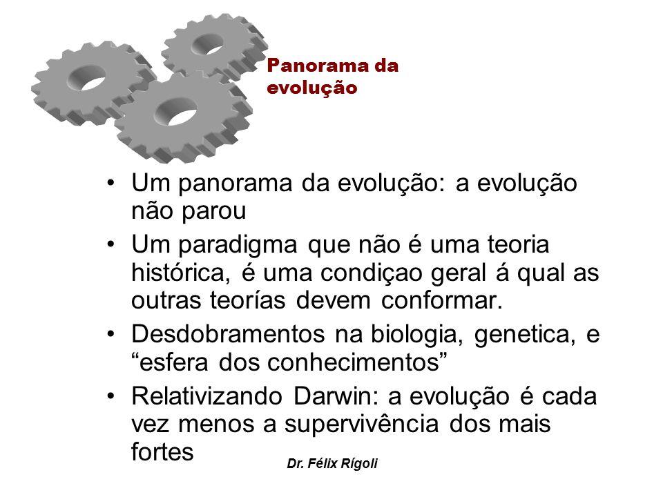 Dr. Félix Rígoli Um panorama da evolução: a evolução não parou Um paradigma que não é uma teoria histórica, é uma condiçao geral á qual as outras teor