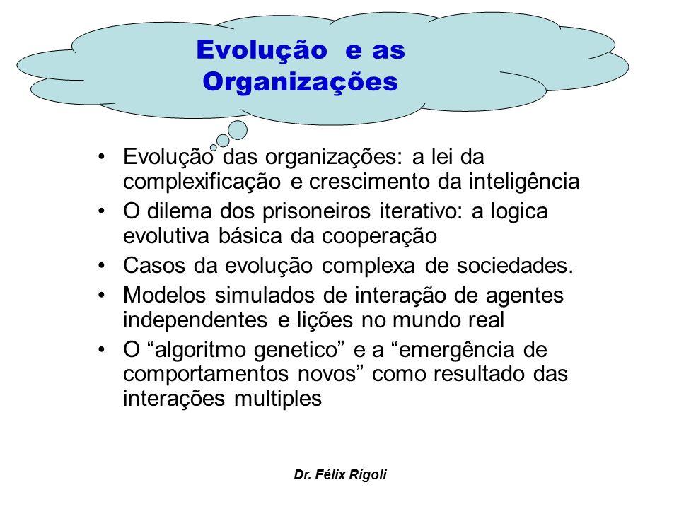 Dr. Félix Rígoli Evolução das organizações: a lei da complexificação e crescimento da inteligência O dilema dos prisoneiros iterativo: a logica evolut