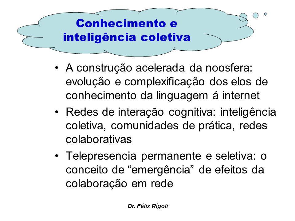 Dr. Félix Rígoli A construção acelerada da noosfera: evolução e complexificação dos elos de conhecimento da linguagem á internet Redes de interação co