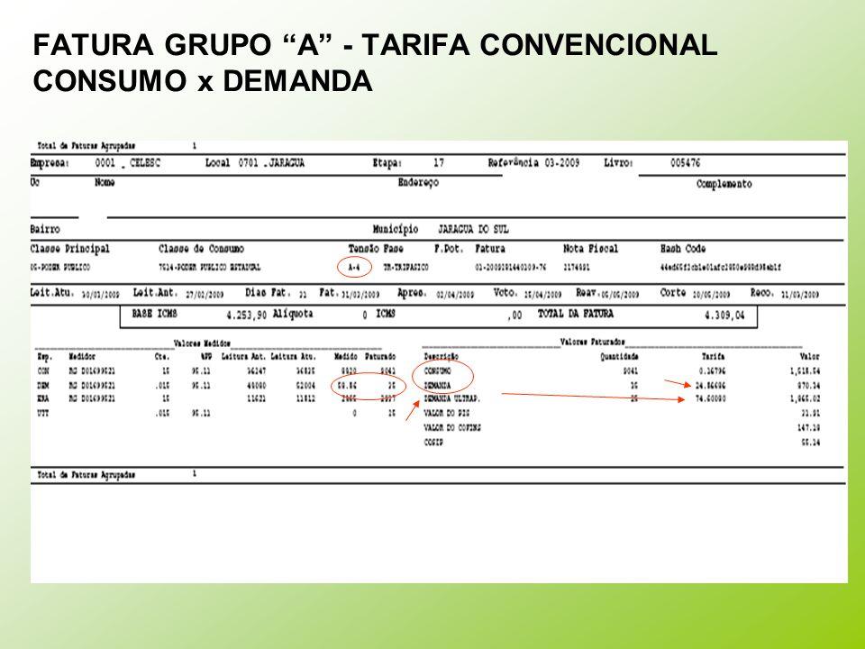 """FATURA GRUPO """"A"""" - TARIFA CONVENCIONAL CONSUMO x DEMANDA"""