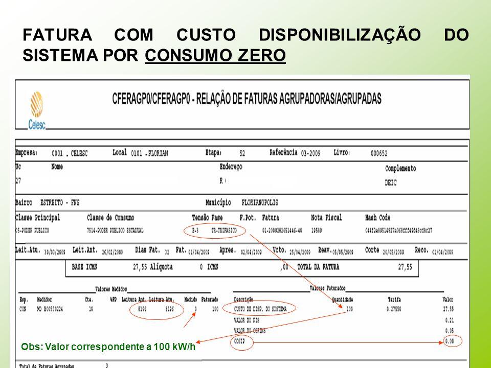 FATURA COM CUSTO DISPONIBILIZAÇÃO DO SISTEMA POR CONSUMO ÍNFIMO OBS: Valor mínimo faturável a) monofásico e bifásico a 02 (dois) condutores: valor em moeda corrente equivalente a 30 kWh; b) bifásico a 03 (três) condutores: valor em moeda corrente equivalente a 50 kWh; c) trifásico: valor em moeda corrente equivalente a 100 kWh;