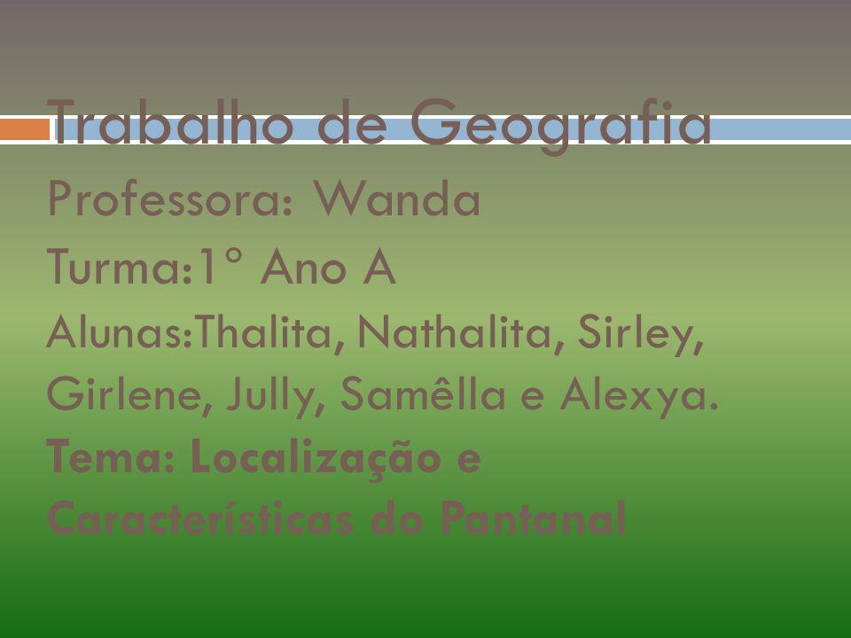 Trabalho de Geografia Professora: Wanda Turma:1º Ano A Alunas:Thalita, Nathalita, Sirley, Girlene, Jully, Samêlla e Alexya. Tema: Localização e Caract