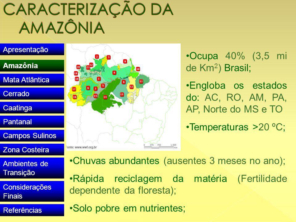Apresentação Amazônia Mata Atlântica Cerrado Caatinga Pantanal Campos Sulinos Zona Costeira Ambientes de Transição Considerações Finais Referências Ocupa 40% (3,5 mi de Km 2 ) Brasil; Engloba os estados do: AC, RO, AM, PA, AP, Norte do MS e TO Temperaturas >20 ºC; Chuvas abundantes (ausentes 3 meses no ano); Rápida reciclagem da matéria (Fertilidade dependente da floresta); Solo pobre em nutrientes;