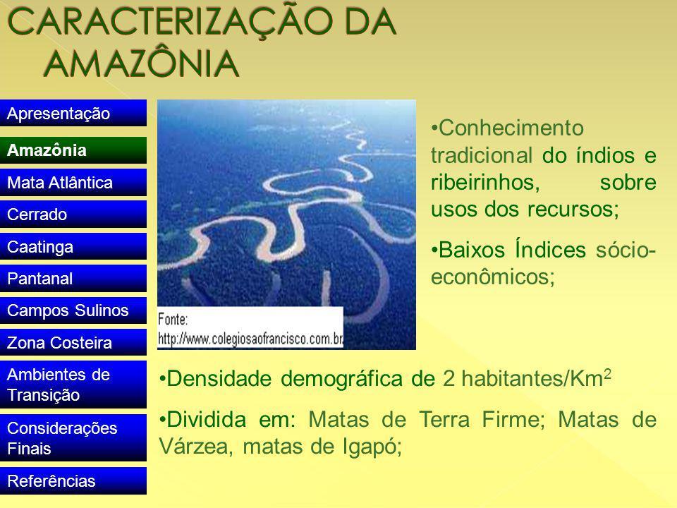 Apresentação Amazônia Mata Atlântica Cerrado Caatinga Pantanal Campos Sulinos Zona Costeira Ambientes de Transição Considerações Finais Referências Conhecimento tradicional do índios e ribeirinhos, sobre usos dos recursos; Baixos Índices sócio- econômicos; Densidade demográfica de 2 habitantes/Km 2 Dividida em: Matas de Terra Firme; Matas de Várzea, matas de Igapó;