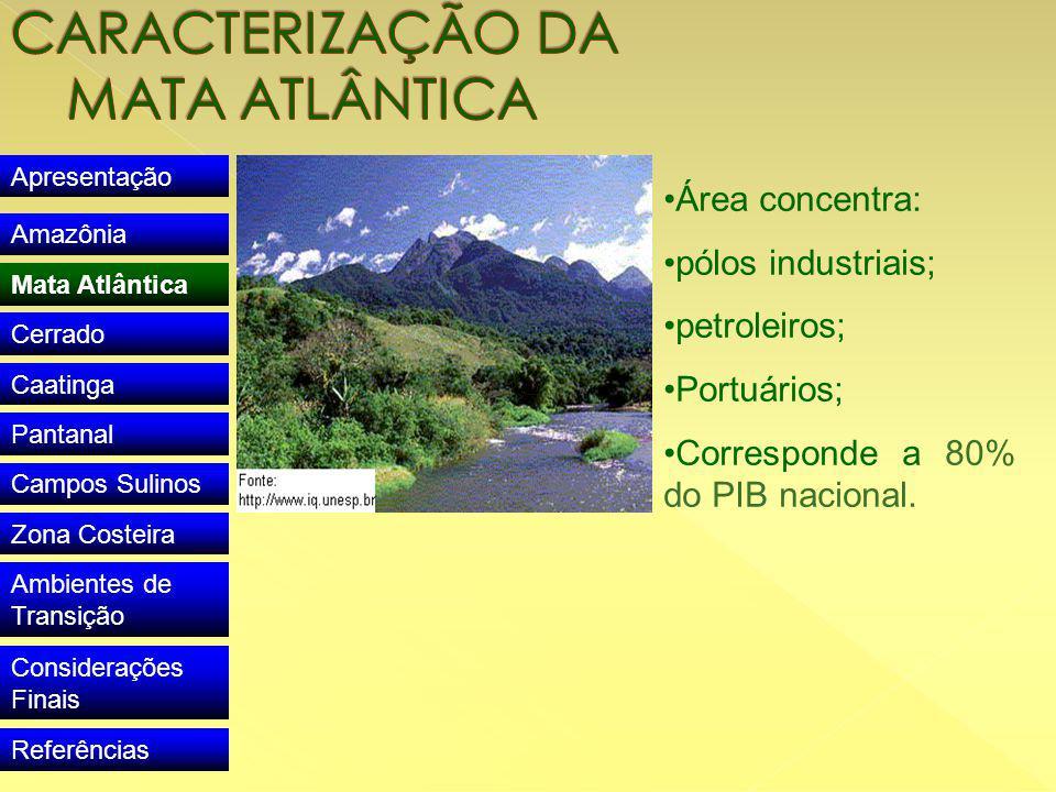 Apresentação Amazônia Mata Atlântica Cerrado Caatinga Pantanal Campos Sulinos Zona Costeira Ambientes de Transição Considerações Finais Referências Área concentra: pólos industriais; petroleiros; Portuários; Corresponde a 80% do PIB nacional.