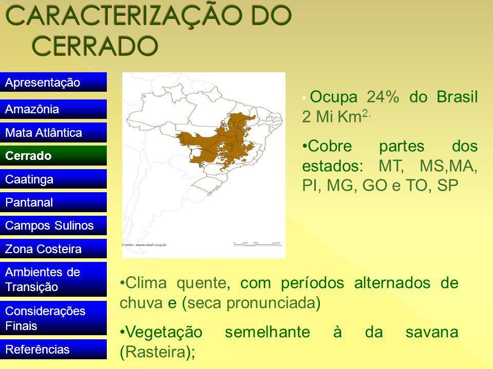 Apresentação Amazônia Mata Atlântica Cerrado Caatinga Pantanal Campos Sulinos Zona Costeira Ambientes de Transição Considerações Finais Referências Ocupa 24% do Brasil 2 Mi Km 2.