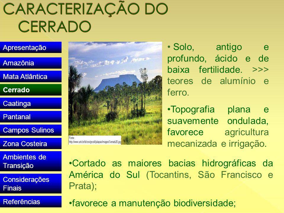 Apresentação Amazônia Mata Atlântica Cerrado Caatinga Pantanal Campos Sulinos Zona Costeira Ambientes de Transição Considerações Finais Referências Solo, antigo e profundo, ácido e de baixa fertilidade.