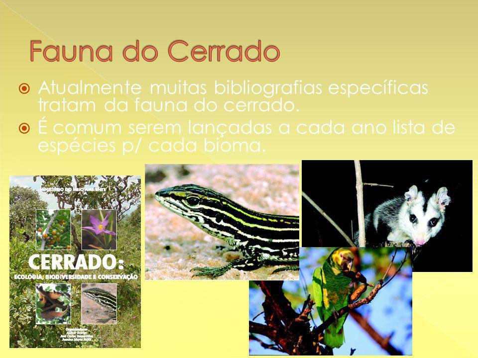  Atualmente muitas bibliografias específicas tratam da fauna do cerrado.