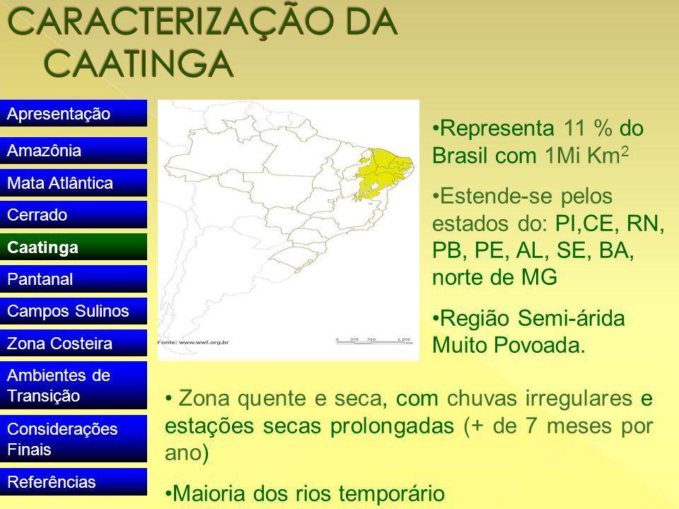 Apresentação Amazônia Mata Atlântica Cerrado Caatinga Pantanal Campos Sulinos Zona Costeira Ambientes de Transição Considerações Finais Referências Representa 11 % do Brasil com 1Mi Km 2 Estende-se pelos estados do: PI,CE, RN, PB, PE, AL, SE, BA, norte de MG Região Semi-árida Muito Povoada.
