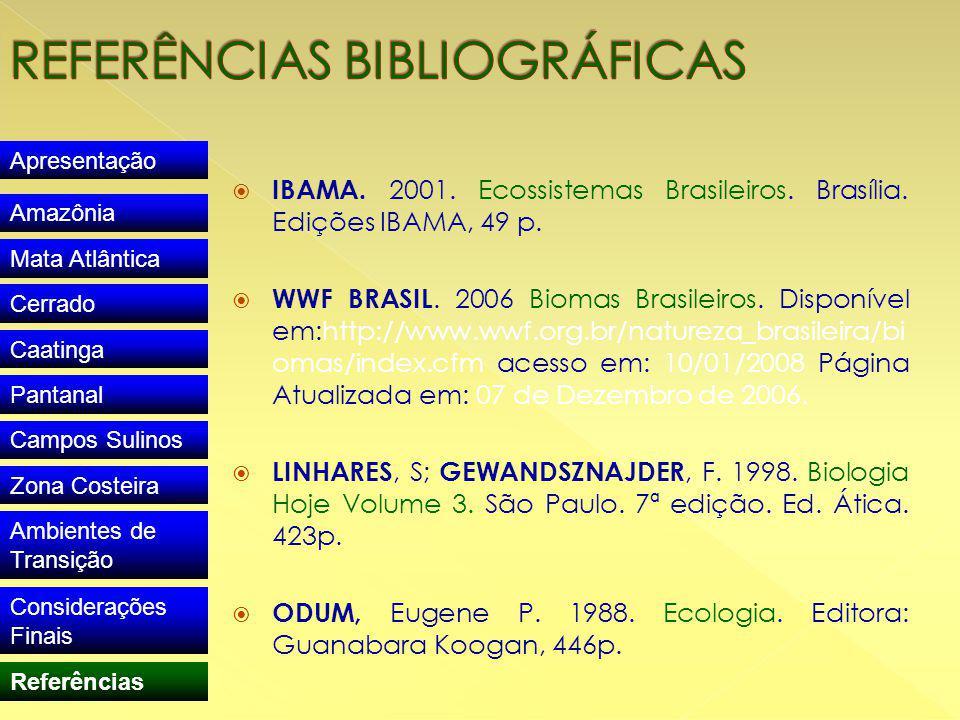  IBAMA. 2001. Ecossistemas Brasileiros. Brasília.