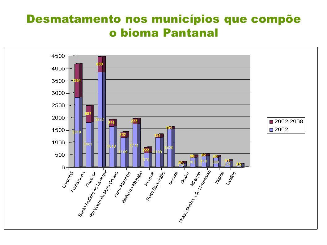 Desmatamento nos municípios que compõe o bioma Pantanal