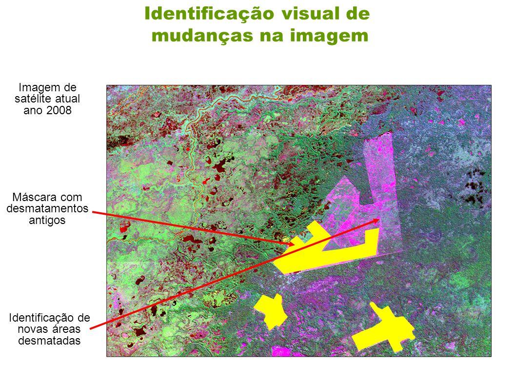 Identificação visual de mudanças na imagem Máscara com desmatamentos antigos Imagem de satélite atual ano 2008 Identificação de novas áreas desmatadas