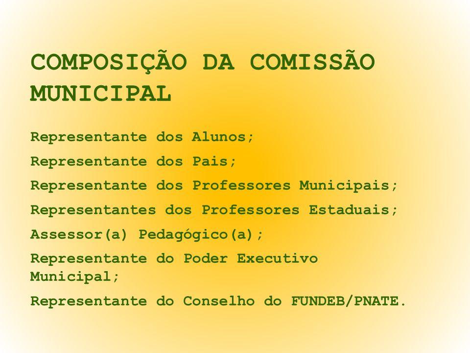 COMPOSIÇÃO DA COMISSÃO MUNICIPAL Representante dos Alunos; Representante dos Pais; Representante dos Professores Municipais; Representantes dos Professores Estaduais; Assessor(a) Pedagógico(a); Representante do Poder Executivo Municipal; Representante do Conselho do FUNDEB/PNATE.