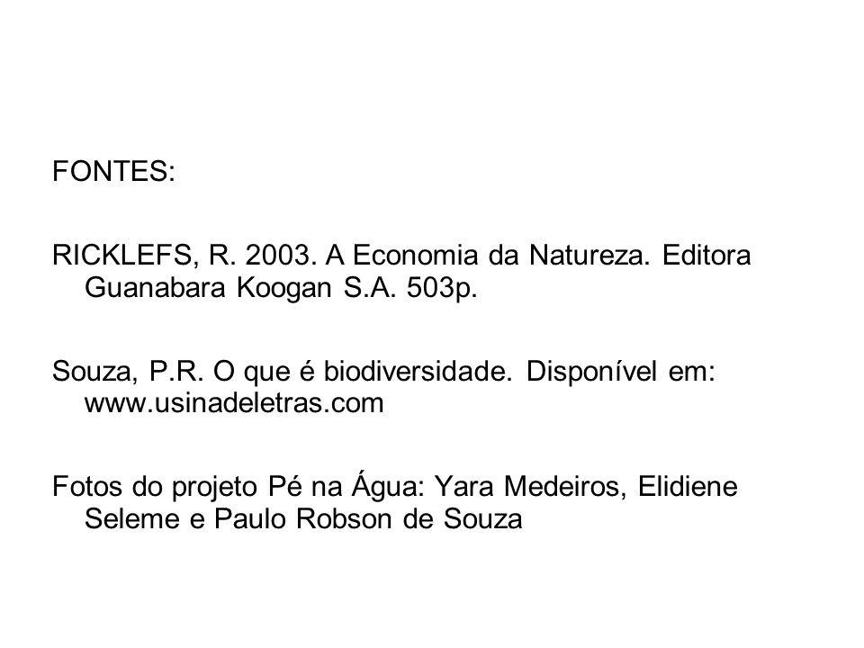 FONTES: RICKLEFS, R. 2003. A Economia da Natureza. Editora Guanabara Koogan S.A. 503p. Souza, P.R. O que é biodiversidade. Disponível em: www.usinadel