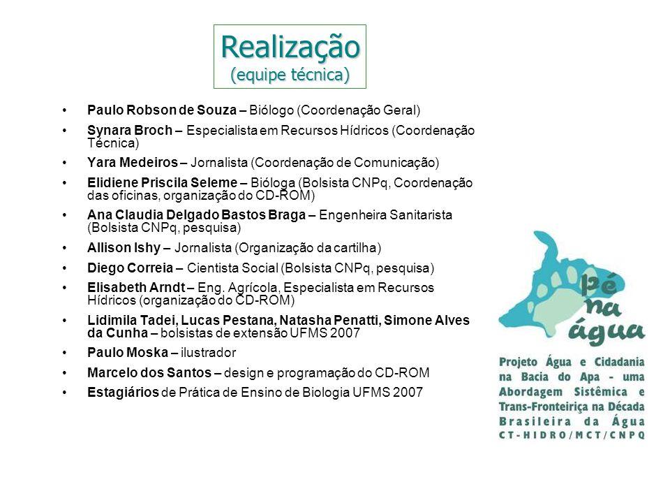 Paulo Robson de Souza – Biólogo (Coordenação Geral) Synara Broch – Especialista em Recursos Hídricos (Coordenação Técnica) Yara Medeiros – Jornalista