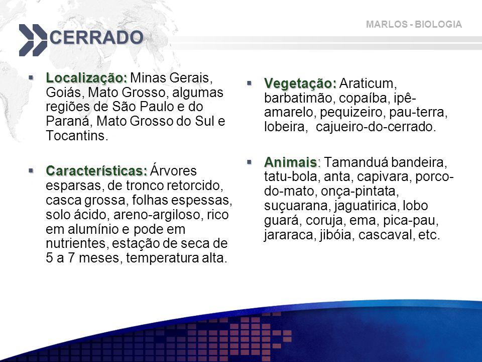 MARLOS - BIOLOGIA CERRADO  Localização:  Localização: Minas Gerais, Goiás, Mato Grosso, algumas regiões de São Paulo e do Paraná, Mato Grosso do Sul e Tocantins.
