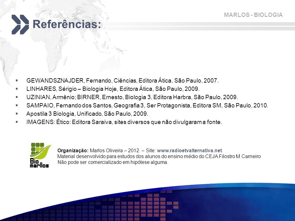 MARLOS - BIOLOGIA Referências:  GEWANDSZNAJDER, Fernando, Ciências, Editora Ática, São Paulo, 2007.