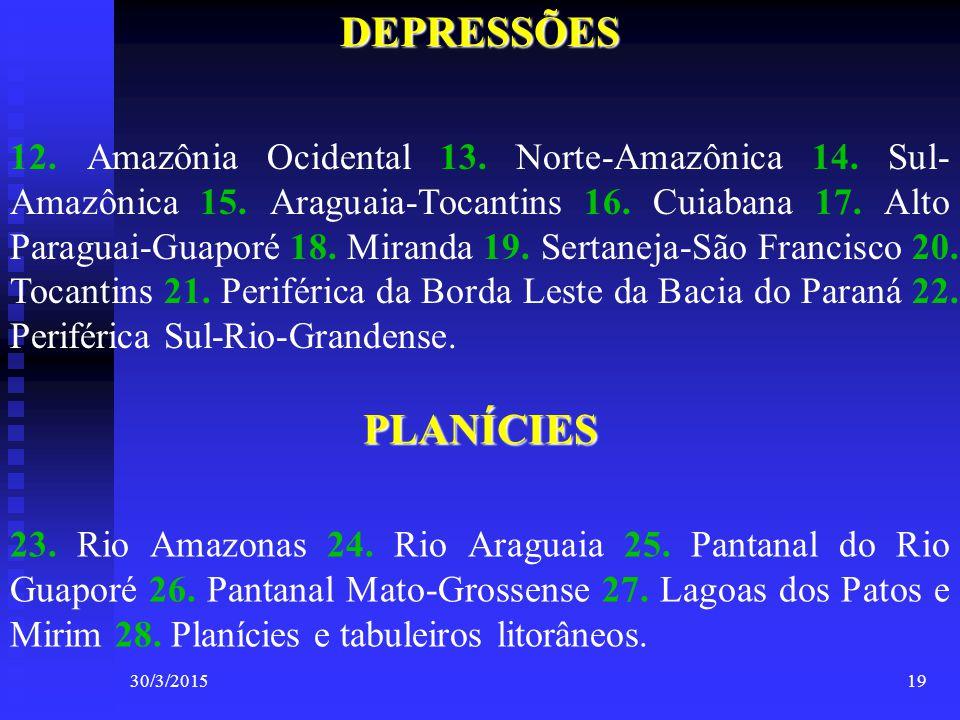 30/3/201519DEPRESSÕES 12. Amazônia Ocidental 13. Norte-Amazônica 14. Sul- Amazônica 15. Araguaia-Tocantins 16. Cuiabana 17. Alto Paraguai-Guaporé 18.