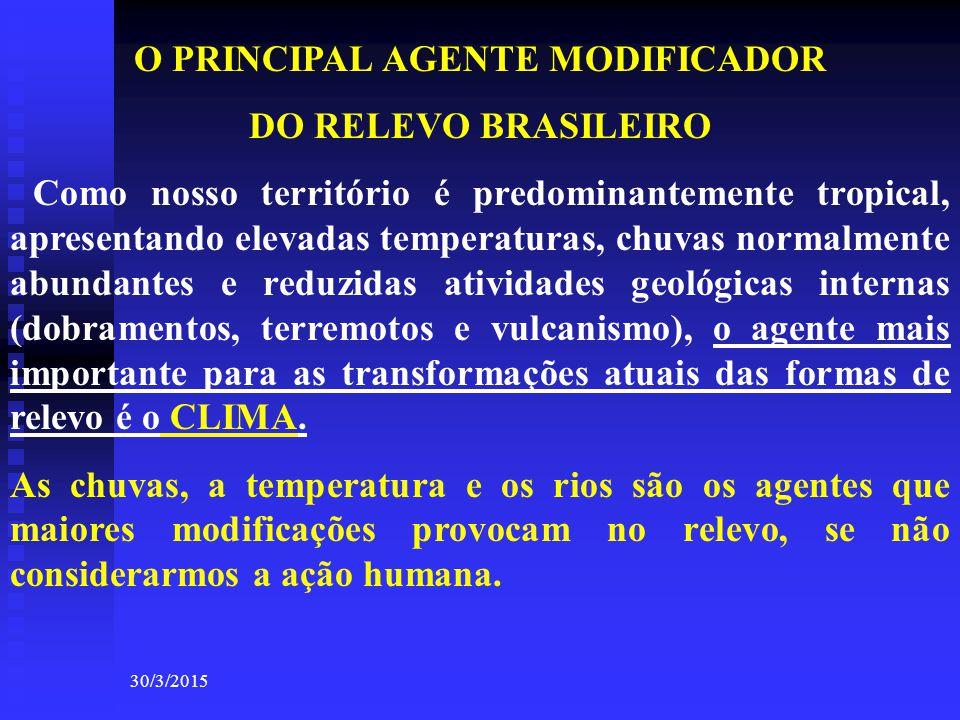 30/3/2015 O PRINCIPAL AGENTE MODIFICADOR DO RELEVO BRASILEIRO Como nosso território é predominantemente tropical, apresentando elevadas temperaturas,