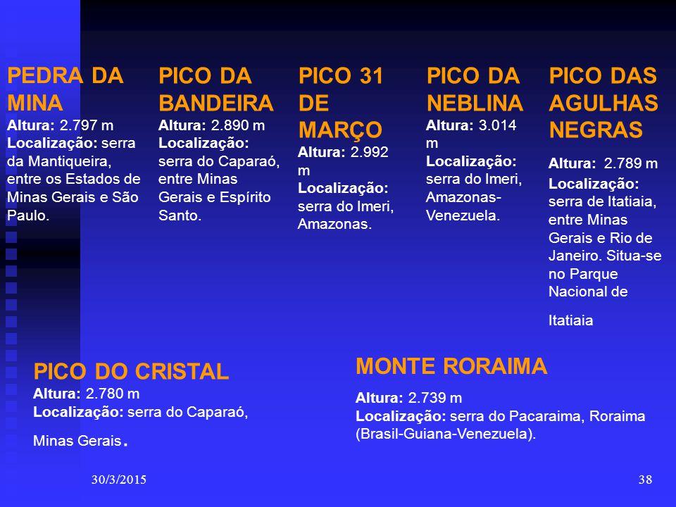 30/3/201538 PEDRA DA MINA Altura: 2.797 m Localização: serra da Mantiqueira, entre os Estados de Minas Gerais e São Paulo. PICO DA BANDEIRA Altura: 2.