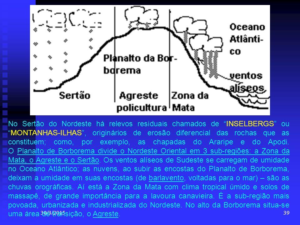 """30/3/201539 No Sertão do Nordeste há relevos residuais chamados de """"INSELBERGS"""" ou """"MONTANHAS-ILHAS"""", originários de erosão diferencial das rochas que"""