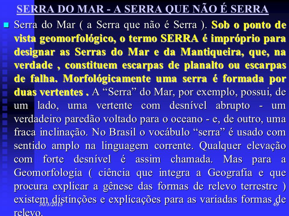SERRA DO MAR - A SERRA QUE NÃO É SERRA Serra do Mar ( a Serra que não é Serra ). Sob o ponto de vista geomorfológico, o termo SERRA é impróprio para d